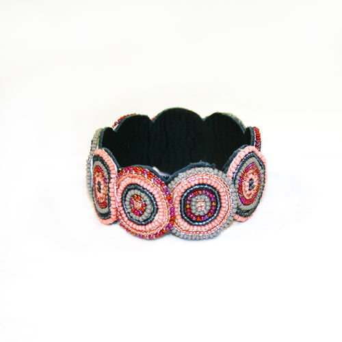 beaded bracelet with leather,salmon