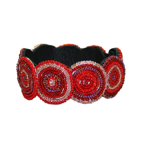 beaded bracelet with leather, shiny red