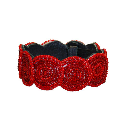 beaded bracelet with leather, deep red