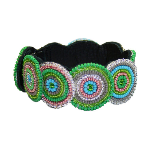 beaded bracelet with leather, green and pink