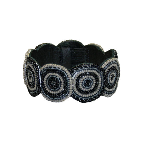 beaded bracelet with leather, black and grey