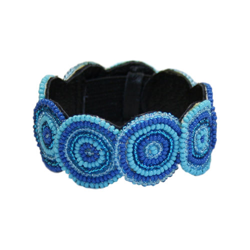 beaded bracelet with leather, light blue