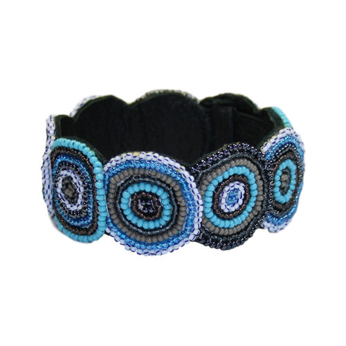 beaded bracelet with leather, greyblue