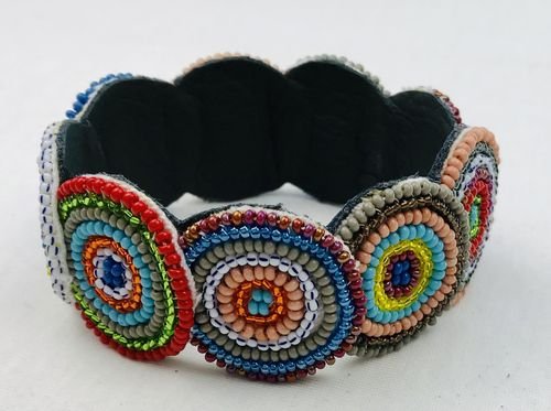 beaded bracelet with leather
