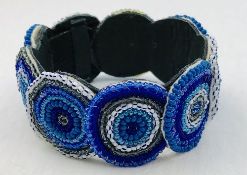 beaded bracelet with leather, blue